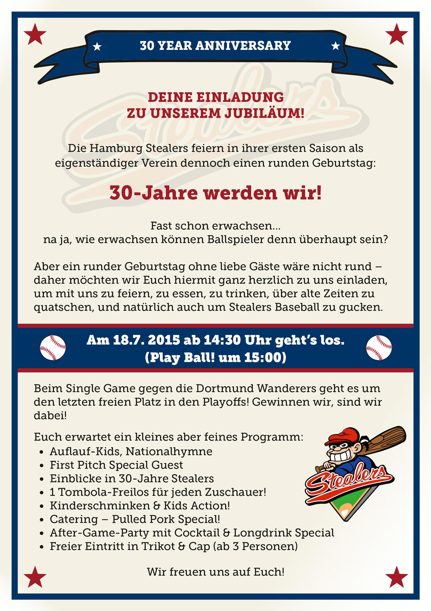 baseballclub hamburg stealers e.v. » stealers feiern jubiläum und, Einladung