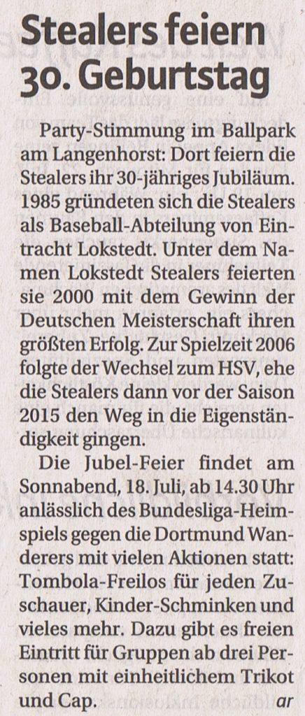 Niendorfer Wochenblatt, 15.7.2015 Stealers feiern 30. Geburtstag (2)