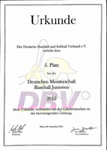 Junioren DM in Mainz 2015 5. Platz