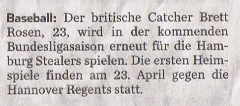 Hamburger Abendblatt, 29.1.2016 Baseball Brett Rosen 001