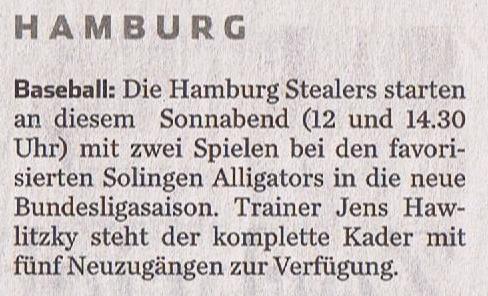 Hamburger Abendblatt, 16.4.2016 Baseball 001