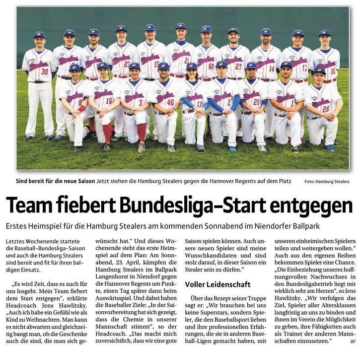 Niendorfer Wochenblatt, 20.4.2016 Team fiebert Bundesliga-Start entgegen