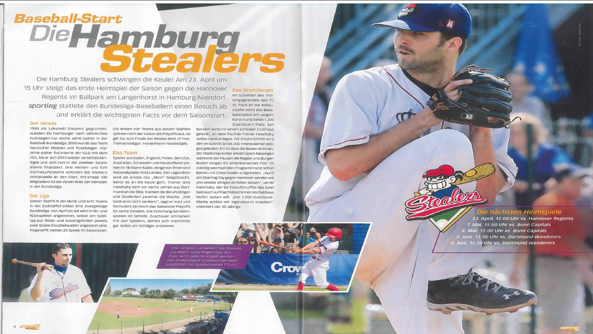 Sporting Hamburg, 6.4.2016 Baseballstart Die Hamburg Stealers
