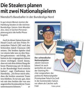 Niendorfer Wochenblatt, 8.3.2017 Stealers planen mit zwei Nationalspielern