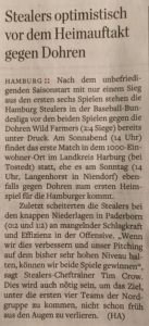 Hamburger Abendblatt, 28. und 29.4.2018 Baseball
