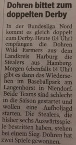 Hamburger Morgenpost 28.4.2018 Baseball